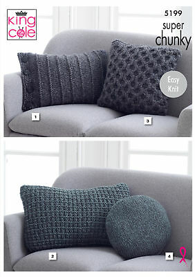 Knitting Pattern 4 Styles Cushions Square Round Easy Super Chunky
