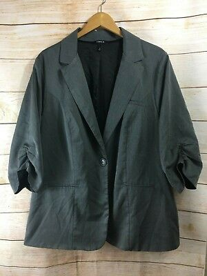 d8f6412cc5c67 Torrid Women s Jacket Gray Pin Stripe Blazer Button Lined Size 4 Ruched  Sleeves