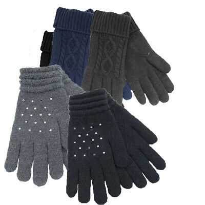 Mens Ladies Warm Winter Thermal Thinsulate Finger Gloves Knitted Black Grey