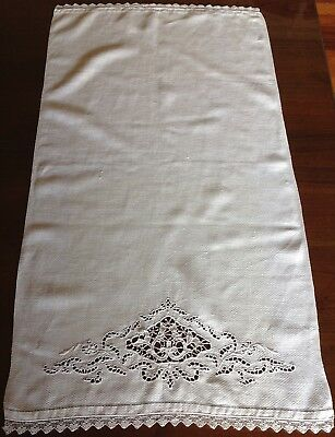 Vintage White Cutwork Embroidered Huckaback Guest Towel Hand Towel