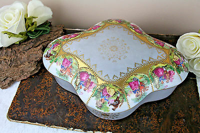 Herford Large Porcelain Candy Box, Fragonard Scenes, Gemany 1950's