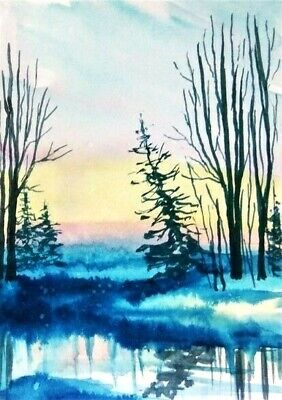 ACEO original winter painting morning river trees landscape watercolour art card