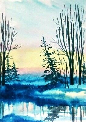 ACEO winter river original painting morning trees landscape watercolour art card