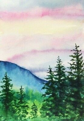 ACEO Mountains trees landscape original painting sunset watercolour art card