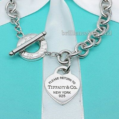 936a7fa93 Return to Tiffany & Co. Heart Tag Toggle Necklace Choker 925 Silver  Authentic