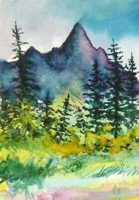 ACEO Autumn Mountains painting Fall tree original landscape watercolour art card