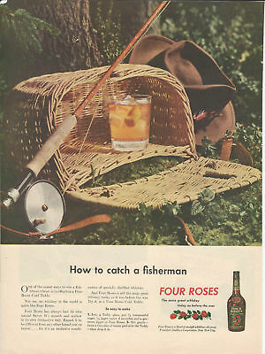 """Vintage Ad 1945 Four Roses Whiskey """" How to catch a fisherman"""""""