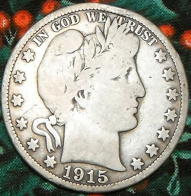 Free Ship Circulated 1915 S US Barber Silver HALF DOLLAR 50 cent   L755