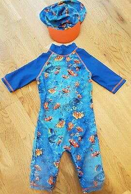 Mothercare 12-18 months boy swim sun protection UV suit hat set blue orange fish