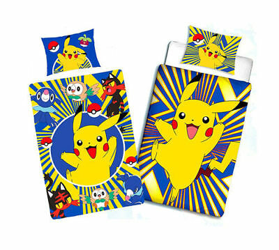 Pokemon Wende Kinder Bettwäsche Set 135 x 200 cm Nintendo Pikachu