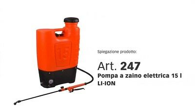 Pompa elettropompa a zaino Stocker 15 lt. 1>5  bar con batteria al litio 10 Ah