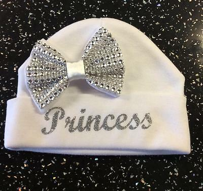 Romany Crystal Bling Baby Girls' Personalised Hat 0-3