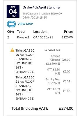 2x DRAKE STANDING TICKETS - 4th APRIL - 02 Arena
