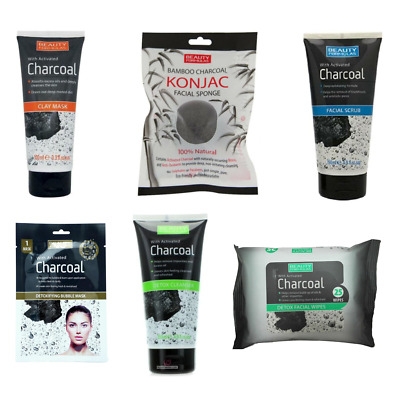 Beauty Formulas Activated Charcoal Range - Mask Cleanser Wipes Scrub Konjac