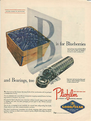 """Vintage Ad 1945 Goodyear Pliofilm """"B is for Blueberries and Bearings, too"""""""