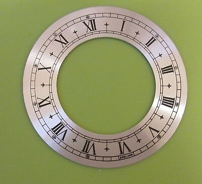 SILVERED CHAPTER RING CLOCK FACE OR DIAL ROMAN BLACK NUMERALS 78mm