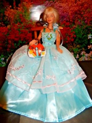 Barbie Doll Clothes-Lovely Blue dress,shoes,hair decoration,,jewellery purse
