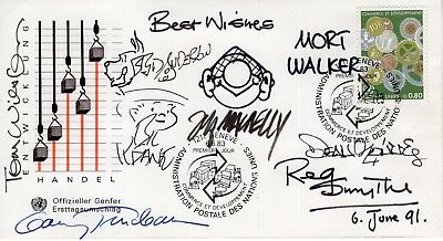 Cartoonist Legends Hand Signed First Day Cover+Coa     Signed By 8+Sketches
