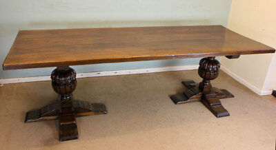 Large Antique Oak Farmhouse Refectory Kitchen Dining Table