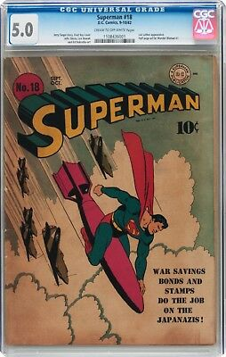 Superman #18 Golden Age Superman DC CGC 5.0 1939 series