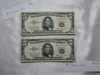 (40) 1963 $5 Dollar UNITED STATES Note s Bills Currency LooK $200 Face | 9320