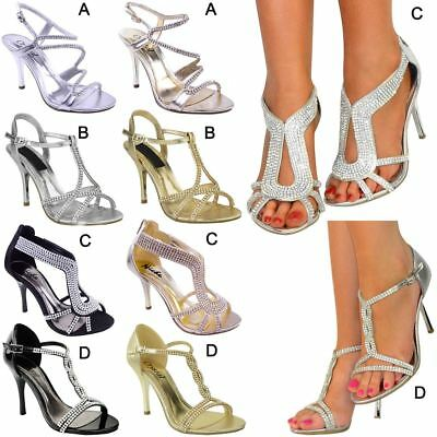 Womens Ladies Diamante Mid Heel Wedding Bridal Prom Shoes Evening Sandals Size