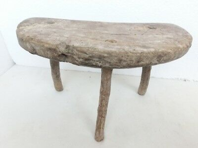 ۞ Rare Old Antique Primitive Wooden Wood Handmade Stool Chair Tripod #3
