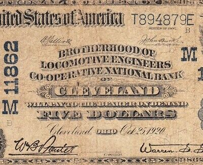 "SCARCE ""Longest Bank Title"" 1902 $5 Brotherhood Locomotive CLEVELAND, OH Note!"
