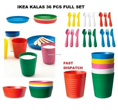Children's Kids Plastic Bowls Cups Plates Cutlery Set or Individual Kalas