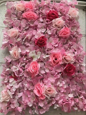 Pink-handmade ARTIFICIAL FLOWER ROSEHYDRANGEA WALL PANEL WEDDING Backdrop