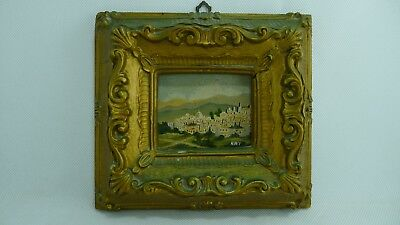 Old Vintage Small Oil Painting Jerusalem Scene on Canvas Board Signed RAY