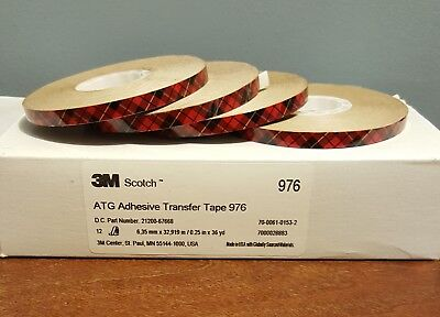 "(12) Scotch ATG Adhesive Transfer Tape 976 Clear, (.25) 1/4"" X 36 yd"