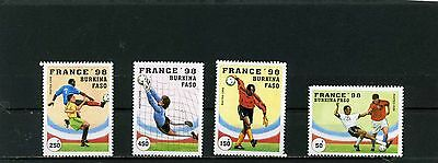 Burkina Faso 1996 Soccer World Cup France Set Of 4 Stamps Mnh