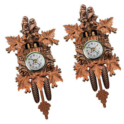 2pcs Vintage Cuckoo Wall Clock Intelligent Tell Time Alarm Clock
