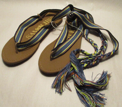 3b9d2d6e612 New Sam   Libby Blossom Womens size 7 Colorful Ribbon Gladiator Flat Sandals