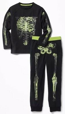 NWT Old Navy Boy's 2 Pc Bones Graphic Glow In The DarK Pjs Set, (12) #357214
