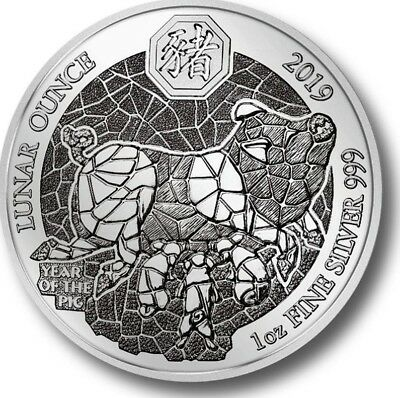 2019 YEAR OF THE PIG RWANDA LUNAR OUNCE 1 oz Pure .999 Silver IN MINT BLISTER