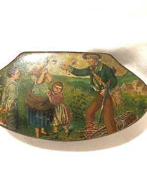 Antique Paper Mache Snuff Box,Pinch-to-Open Mechanism Agricultural Tiny Painting