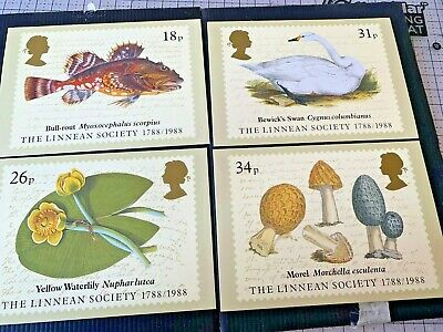 The Linnean Society 1788 - 1988 set of four Royal Mail Stamp Postcards