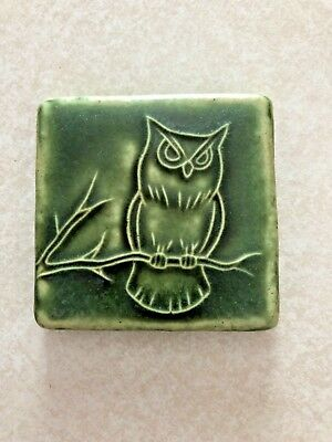 Pewabic Pottery Art Tile Owl 2012 Detroit Michigan 2 3/4 in square Green