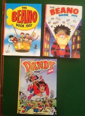 3 Hardback Comic Annuals  Beano (1987,1994)  Dandy (1994)  By DC Thompson LOT 3