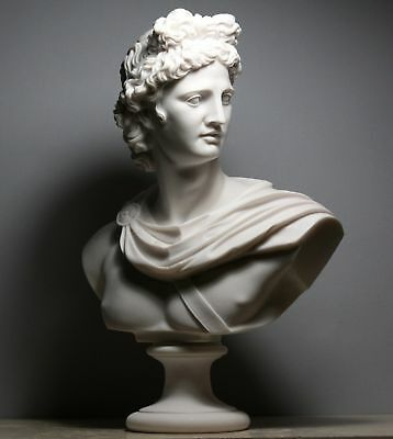 APOLLO Greek Roman God Bust Head Statue Cast Marble Sculpture Handmade 20.8""