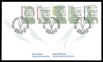 Canada FDC - 1996 - Canadian Authors, Scott # 1626a, Strip of 5