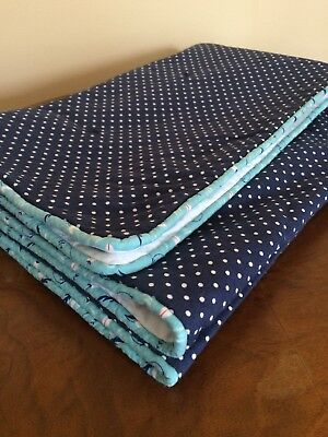 Navy White Polka Dot Block Shibori Baby Quilt Cotton Handmade In RI USA Blue