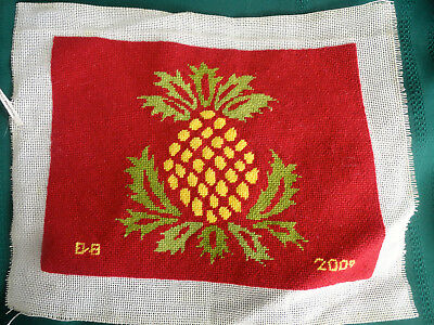 Pineapple sign of friendship finished needlepoint canvas dated signed