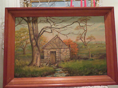 Beautiful Vintage Painting By Florence Hinds Cabin In The Country