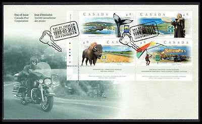 Canada FDC - 1999 - Canadian Scenic Highways, Scott # 1783a, Plate Block