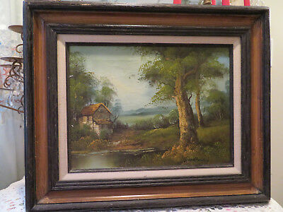 # 579 Vintage Painting Cabin In The Country Signed