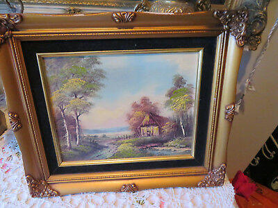 #44 Vintage Painting Cabin In The Country Wilderness Signed Tony Gold Frame