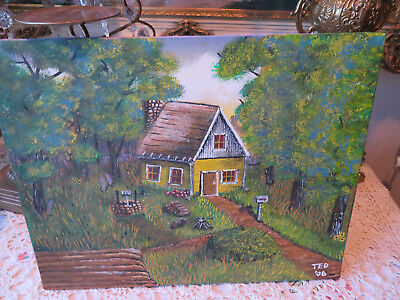 #46 2008 Painting Of Yellow White Wood Cabin In The Wilderness Signed Ted